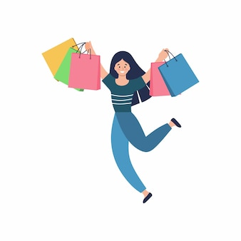 Gelukkig meisje met winkelen. een vrouw met tassen rent de winkel uit. concept van winkelen in een supermarkt. webwinkel in dameskleding.