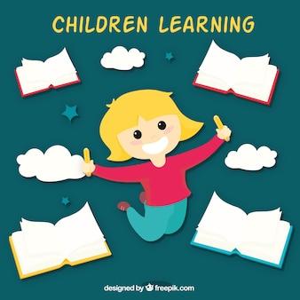 Gelukkig meisje omgeven door boeken en wolken