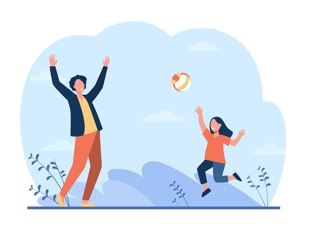 Gelukkig meisje spelen met vader in volleybal. leuk, vader, kind platte illustratie.