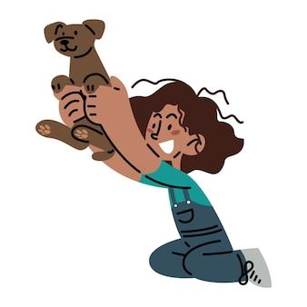 Gelukkig meisje spelen met zijn hond vectorillustratie