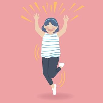 Gelukkig meisje springen en dansen geïsoleerd op roze