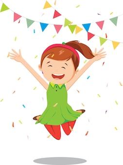 Gelukkig meisje springen in verjaardagsfeestje