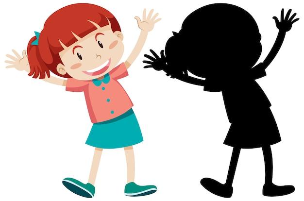 Gelukkig meisje staande positie met zijn silhouet