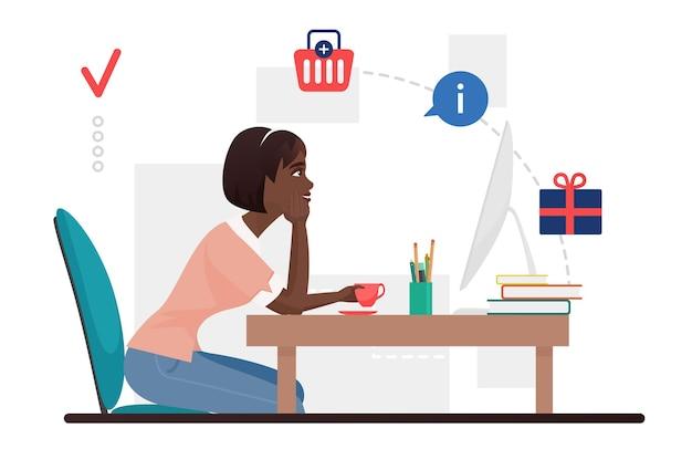 Gelukkig meisje winkelen cadeau bestellen via internet vrouw shopaholic met behulp van computer om te bestellen