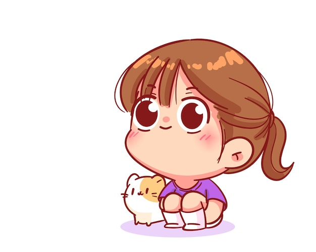 Gelukkig meisje zittend op de vloer knuffelen knieën met kat cartoon kunst illustratie