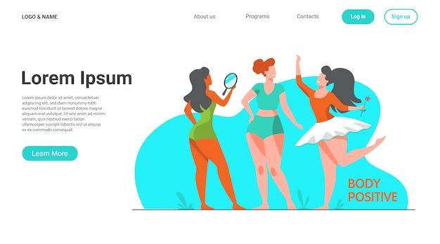 Gelukkig meisjes bewonderen hun lichamen platte vectorillustratie