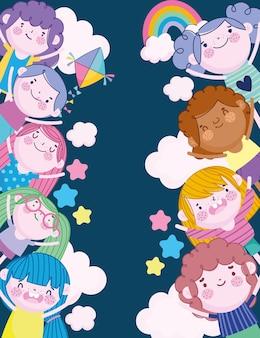 Gelukkig meisjes en jongens regenboog vlieger sterren geluk cartoon, kinderen illustratie