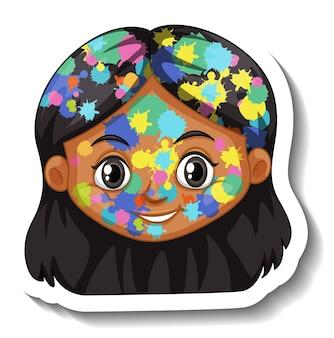 Gelukkig meisjesgezicht met kleur op zijn gezichtssticker op witte achtergrond
