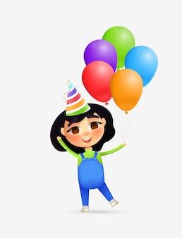 Gelukkig meisjeskarakter met partijhoed en ballons