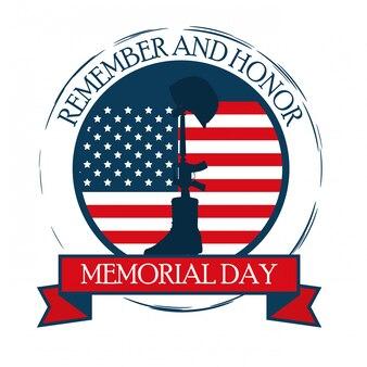 Gelukkig memorial day viering kaart met usa vlag