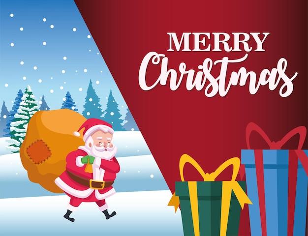 Gelukkig merry christmas belettering kaart met santa en geschenken illustratie