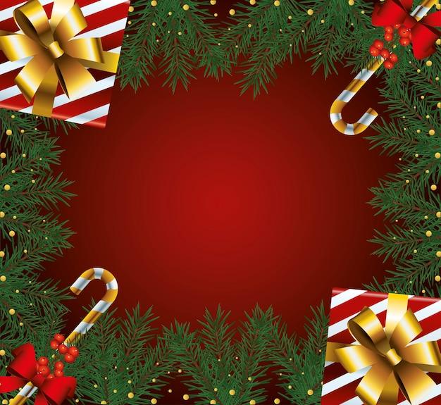 Gelukkig merry christmas frame met geschenken en wandelstokken illustratie