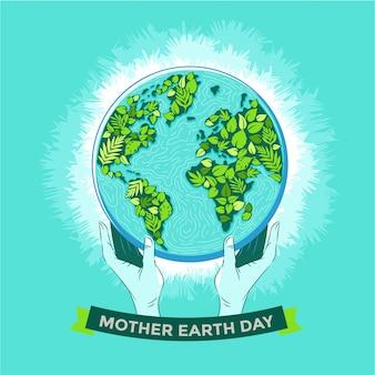 Gelukkig moeder aarde dag concept met bladeren en menselijke handen met natuurlijke en mooie globe in de ruimte