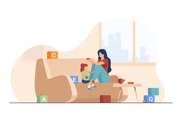 Gelukkig moeder en dochtertje thuis spelen