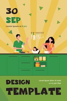 Gelukkig moeder, vader en dochter koken samen geïsoleerde platte flyer-sjabloon