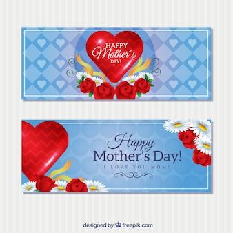 Gelukkig moederdag banners met een rode harten