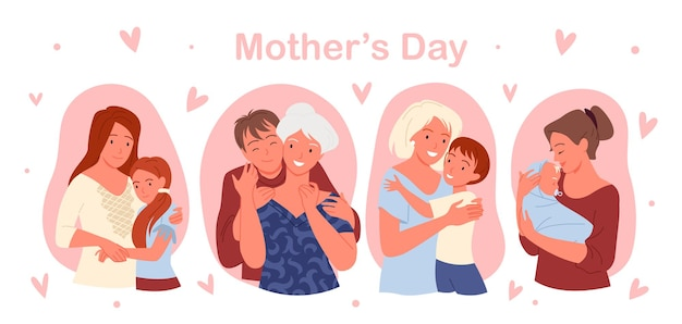 Gelukkig moederdag concept met schattige familie mensen liefde, zorg en knuffel illustratie set.