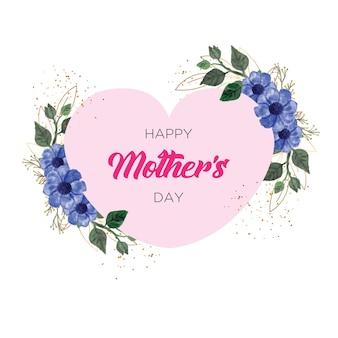Gelukkig moederdag frame met bloem aquarel