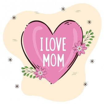 Gelukkig moederdag kaart met hart en bloemen