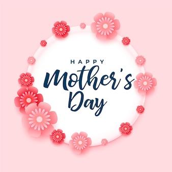 Gelukkig moederdag mooie bloemen decoratiove kaart ontwerp