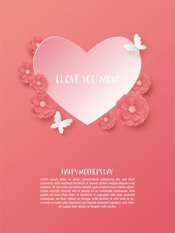 Gelukkig moederdag poster met hart vorm en bloemen in papier knippen stijl.