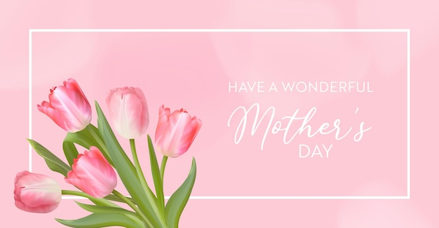 Gelukkig moederdag spandoek. vector groet lente achtergrond. realistisch tulp bloemen ontwerp. vrouwendag, 8 maart internationale dagkaartillustratie. sjabloon voor spandoek, flyer, uitnodiging, poster
