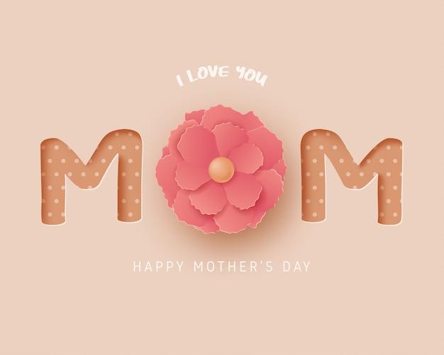 Gelukkig moederdag wenskaart in papier knippen stijl. digitale ambachtelijke papierkunst.