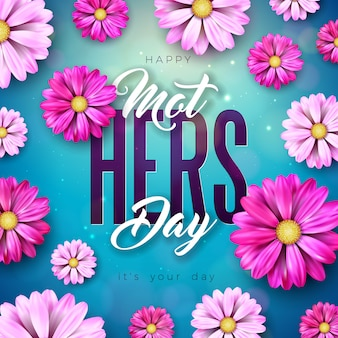 Gelukkig moederdag wenskaart ontwerp met bloem en typografie brief op blauwe achtergrond. viering illustratie sjabloon voor spandoek, flyer, uitnodiging, brochure, poster.