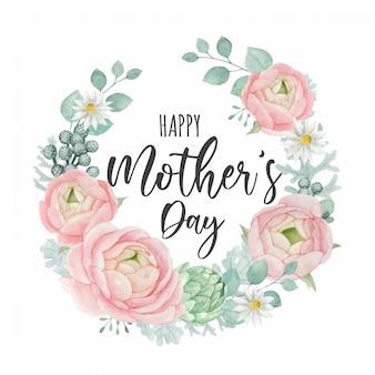Gelukkig moederdag wenskaartsjabloon ontwerp met mooie bloemen krans