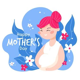 Gelukkig moederdag zwangere vrouw plat ontwerp