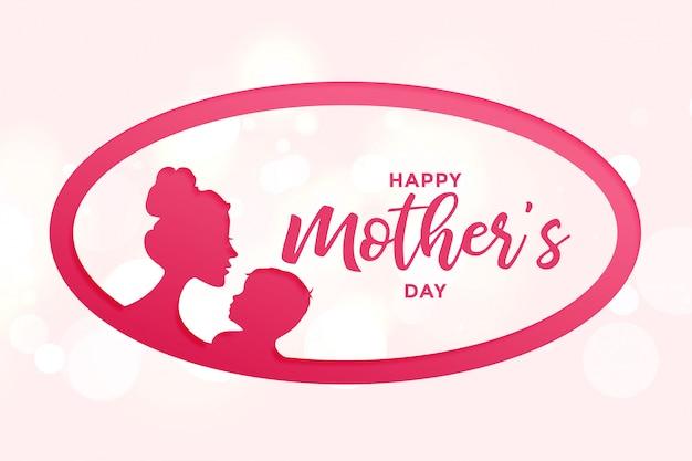 Gelukkig moeders dag achtergrond met moeder en kind