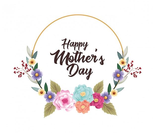 Gelukkig moeders dag kaart met circulaire bloemenlijst