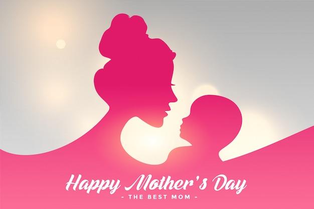 Gelukkig moeders dag kaart met moeder en kind relatie achtergrond