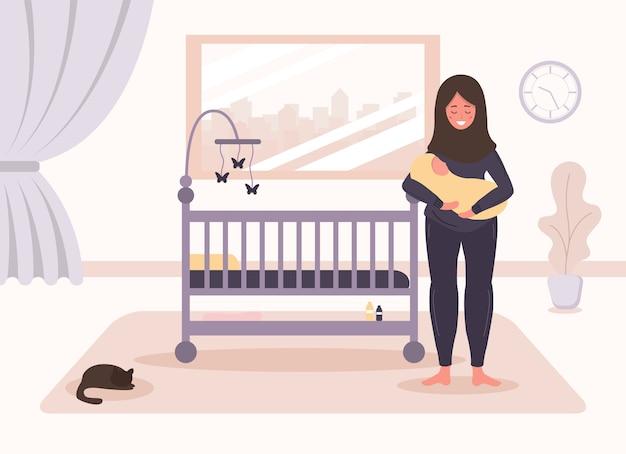 Gelukkig moederschap. arabische vrouw staat bij de wieg en houdt de baby in haar armen. babybedje. creatief ontwerp voor ui, ux, apps, software en infographics. illustratie in vlakke stijl.