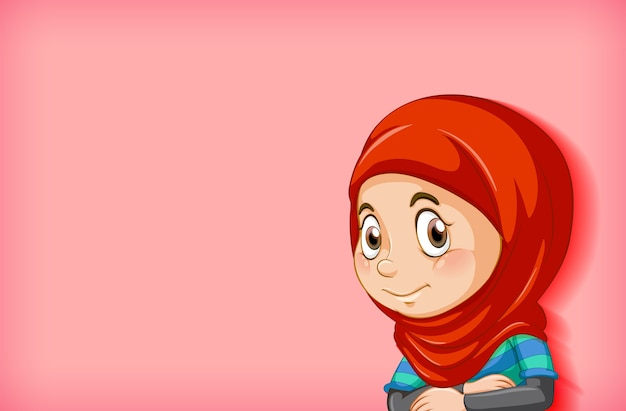 Gelukkig moslim meisje stripfiguur