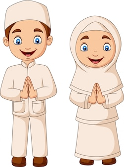Gelukkig moslimjong geitjebeeldverhaal op witte achtergrond