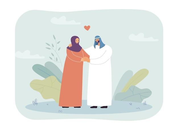 Gelukkig moslimpaar hand in hand
