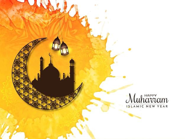 Gelukkig muharram en islamitisch nieuwjaar decoratieve religieuze achtergrond vector