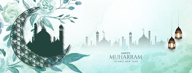 Gelukkig muharram en islamitisch nieuwjaar religieuze groet banner vector