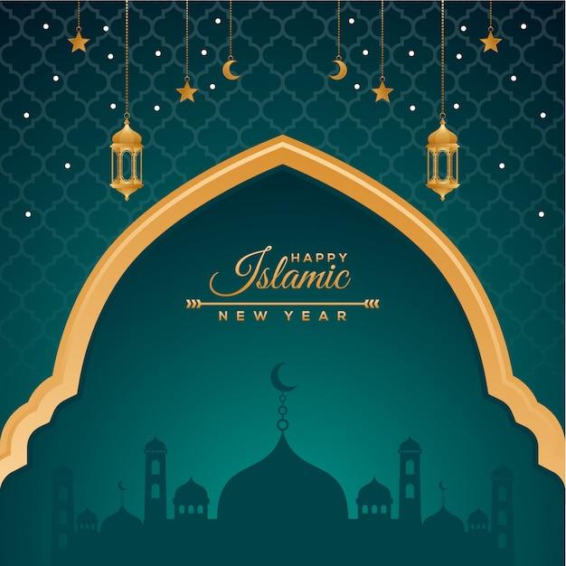 Gelukkig muharram en islamitische nieuwe jaar vakantie achtergrond