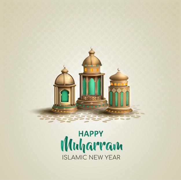 Gelukkig muharram islamitisch nieuwjaarskaartontwerp met drie gouden lantaarns