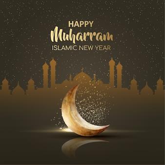 Gelukkig muharram islamitisch nieuwjaarskaartontwerp met halve maan
