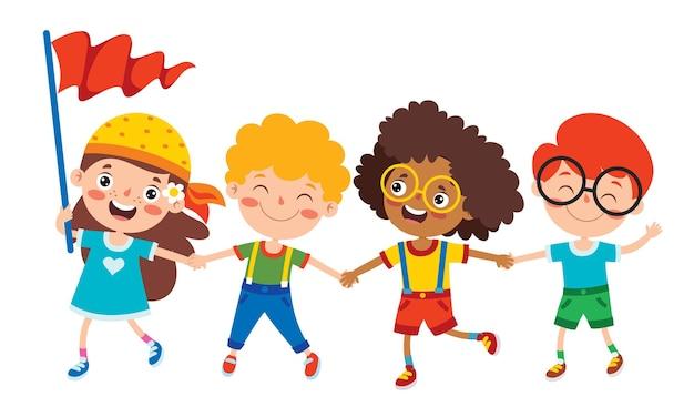 Gelukkig multi-etnische kinderen samenspelen
