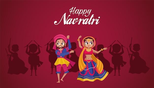 Gelukkig navratri-feest met vrouw dansen en man drummen