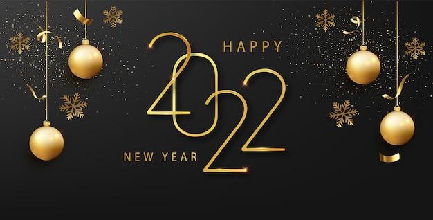 Gelukkig nieuw 2022 jaar. elegante gouden tekst met licht. luxe elegante gouden ontwerpsjabloon voor vakantie-uitnodigingen, wenskaarten of banner vakantie sjabloon.