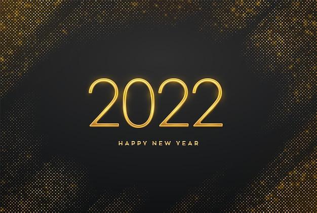 Gelukkig nieuw 2022 jaar. gouden metalen luxe nummers 2022 op glinsterende achtergrond. realistisch teken voor wenskaart. barstende achtergrond met glitters. feestelijke poster of banner. vector illustratie.