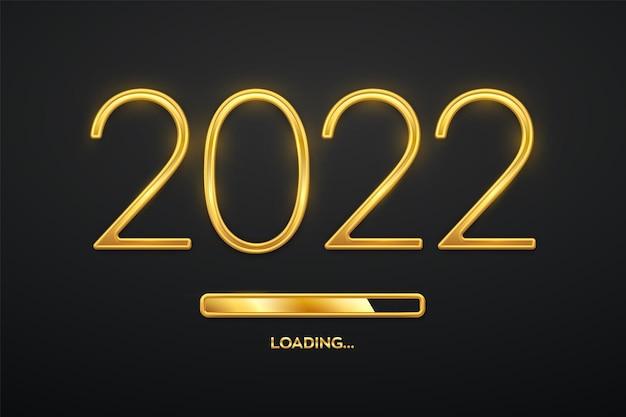 Gelukkig nieuw 2022 jaar. gouden metallic luxe nummers 2022 met gouden laadbalk. aftellen van het feest. realistisch teken voor wenskaart. feestelijk poster of vakantiebannerontwerp. vector illustratie.