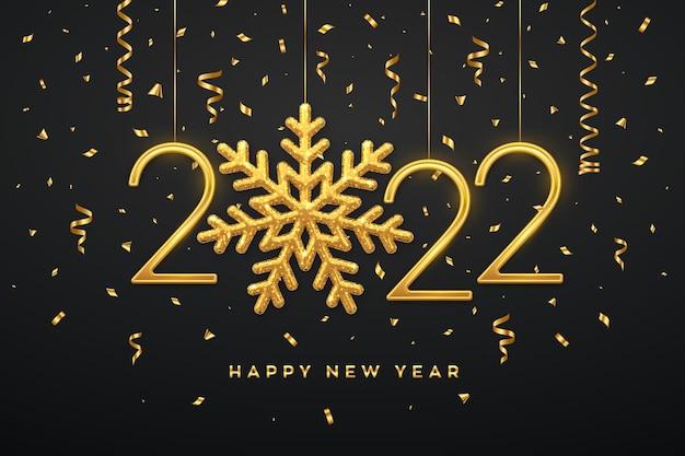 Gelukkig nieuw 2022 jaar. opknoping gouden metalen nummers 2022 met glanzende sneeuwvlok en confetti op zwarte achtergrond. nieuwjaar wenskaart of sjabloon voor spandoek. vakantie decoratie. vector illustratie.