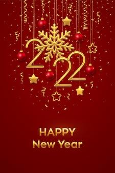 Gelukkig nieuw 2022 jaar. opknoping gouden metalen nummers 2022 met glanzende sneeuwvlok en confetti op zwarte achtergrond. nieuwjaar wenskaart of sjabloon voor spandoek. vakantie decoratie. vector illustratie