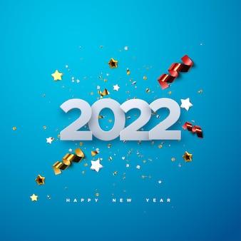 Gelukkig nieuw 2022 jaar papier gesneden nummers met sprankelende confetti deeltjes en streamers op blauw